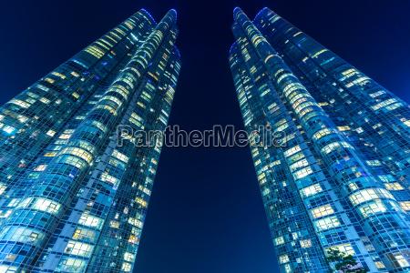 modern building in busan at night