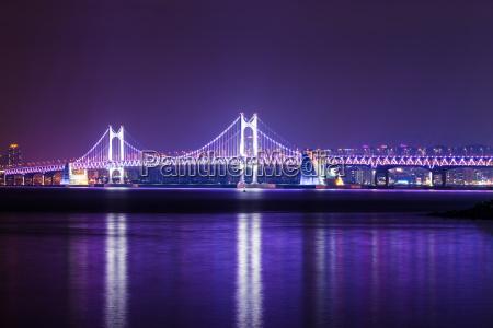 suspension bridge in busan at night