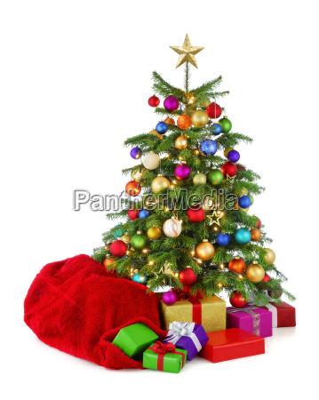 colorful christmas tree with gift bag