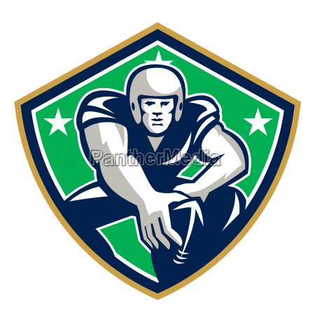 american football center snap front shield