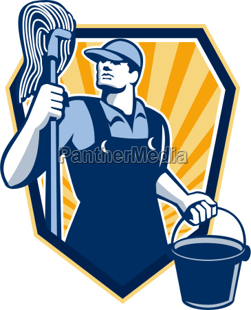 janitor cleaner hold mop bucket shield