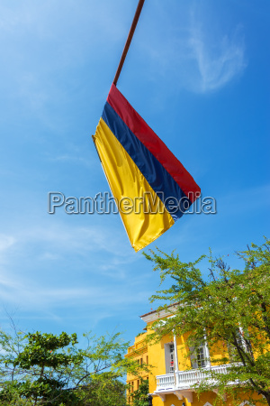 colombian flag and blue sky