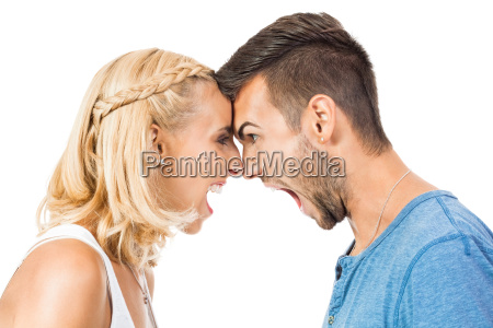 young woman screams her boyfriend to