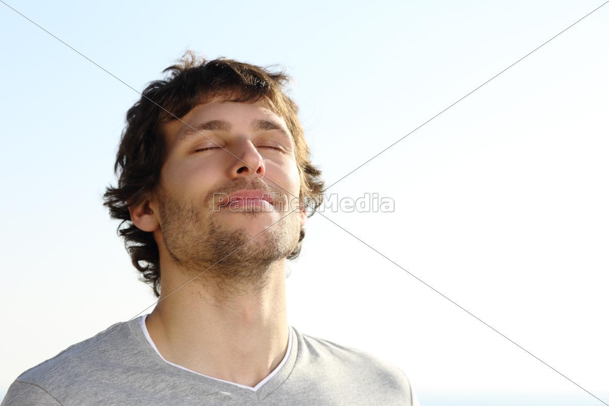 attractive, man, breathing, outdoor - 10478349
