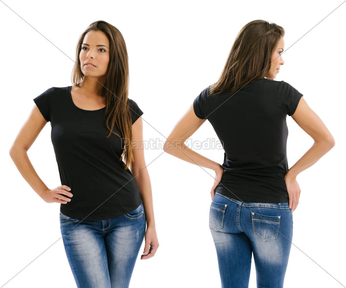 beautiful, model, posing, with, blank, black - 10482657