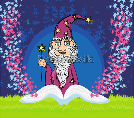 funny wizard and magic book