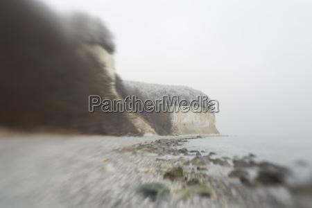 chalk cliffs on ruegen with pinhole