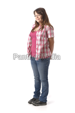 about weighty teenage girl stands