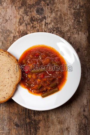 goulash in a white dish