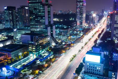 gangnam district in seoul at night