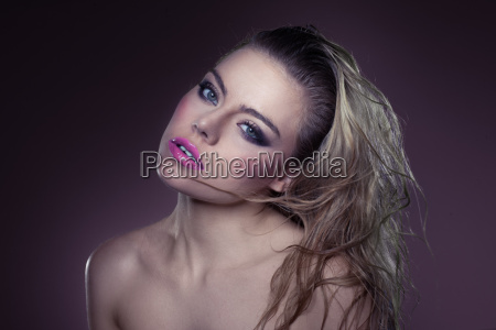 beautiful sexy blond with tousled hair