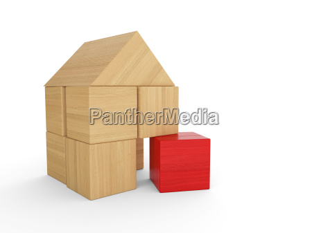wooden house block concept red