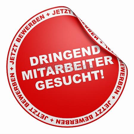 3d sticker red urgent staff