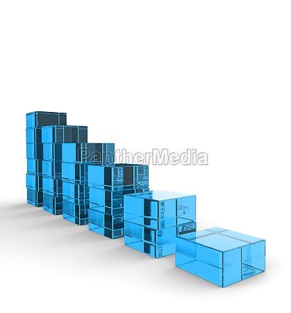 3d glass blocks downtrend blue