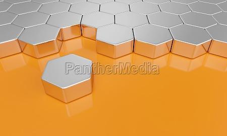 hexagon block concept silver orange