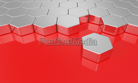hexagon building block concept silver