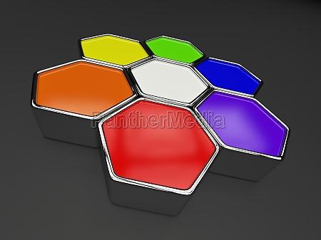 hexagon color circle