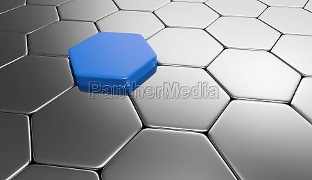 hexagon background blue silver