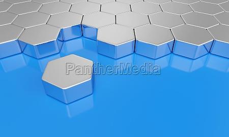 hexagon block concept silver blue