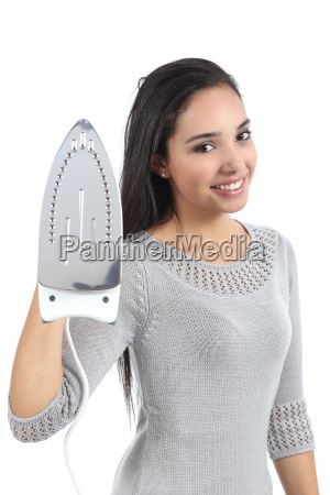 beautiful young woman holding a smoothing