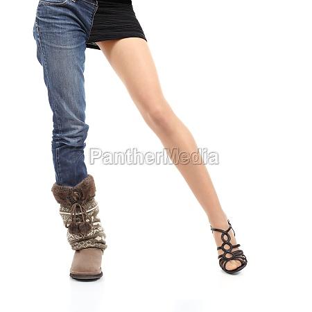choosing clothing concept casual or elegant