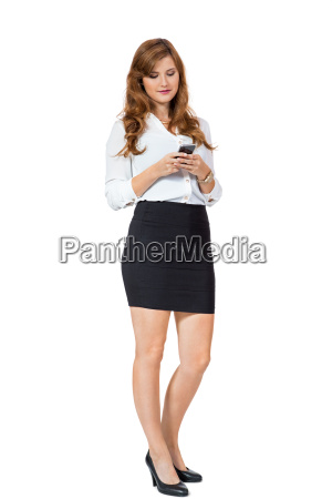 young attractive businesswoman with smartphone