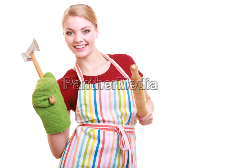 happy housewife apron oven mitten holds