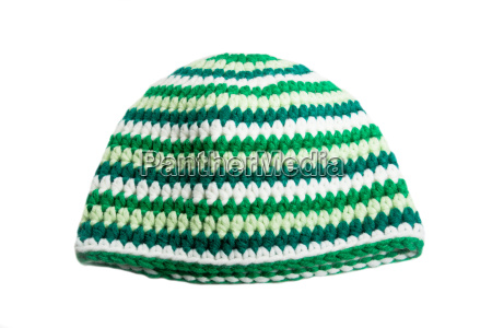 crocheted cap with green stripes