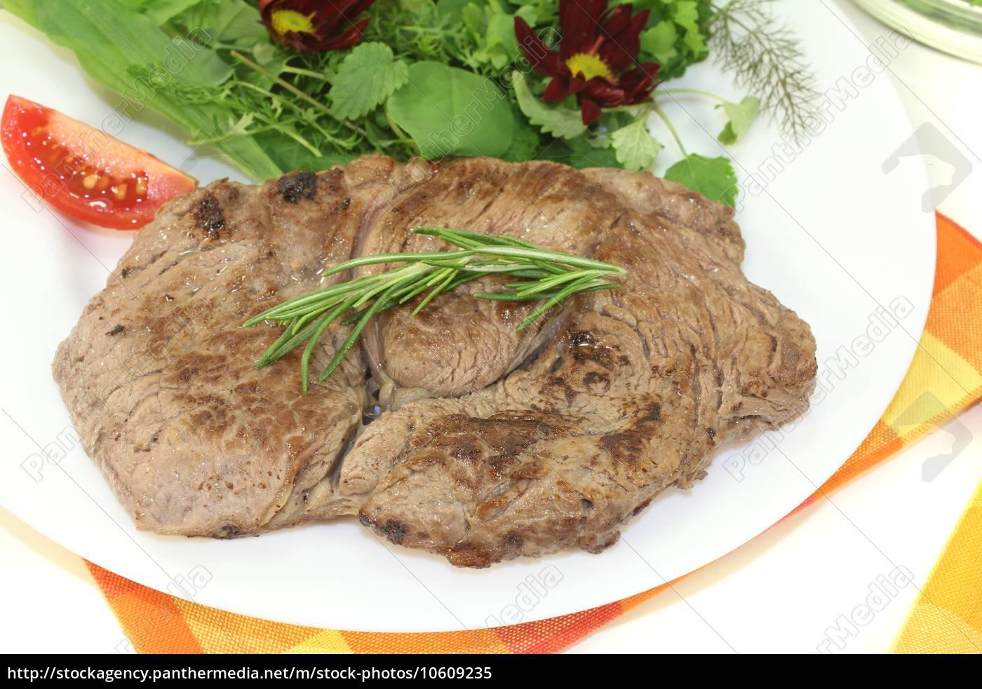 fresh, entrecote, with, wild, herb, salad - 10609235