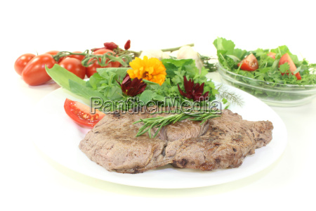 roasted, entrecote, with, wild, herb, salad - 10609233