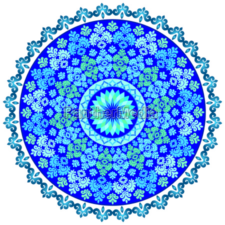 blue oriental pattern and ornaments