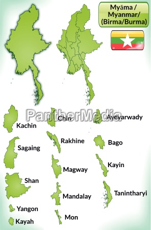 map of myanmar with borders in