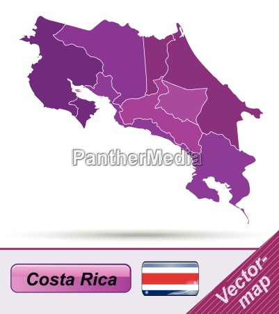 map of costa rica with borders