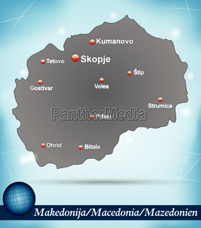 island map of macedonia abstract background