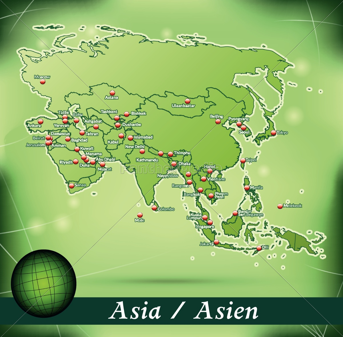 Map Of Asia Jakarta.Island Map Of Asia Abstract Background In Green Royalty Free Image