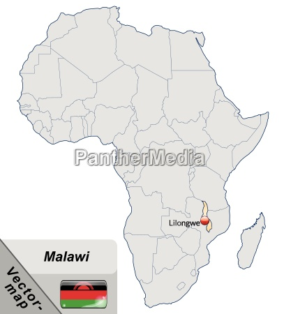 island map of malawi with capitals
