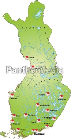 map of finland as infographic in