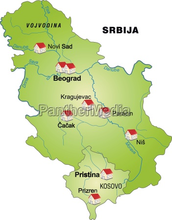 map of serbia as infographic in