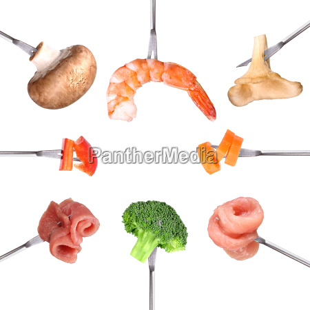 fondue ingredients on skewers