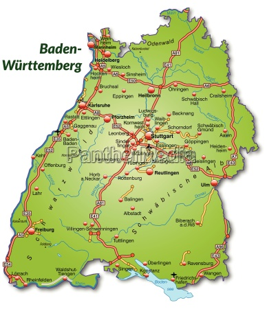 map of baden wuerttemberg with transport