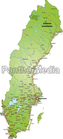 map of sweden with transport network
