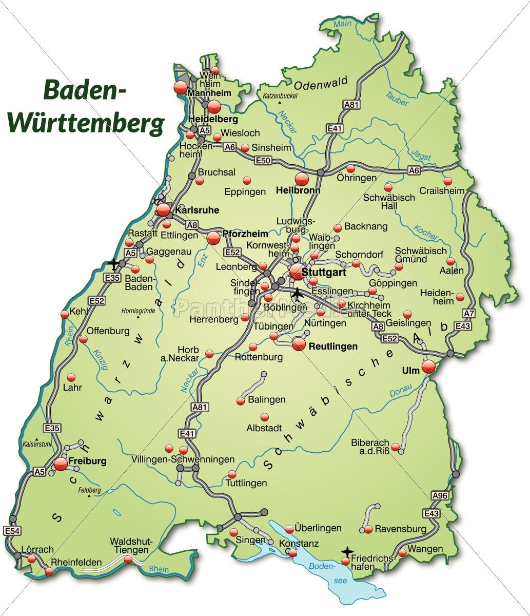 Karte baden württemberg städte in Regionen und