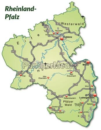 map of rhineland palatinate with traffic