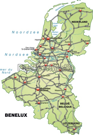 map of benelux laender with transport