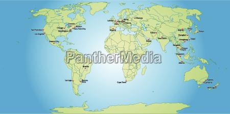 map of world capitals in pastel
