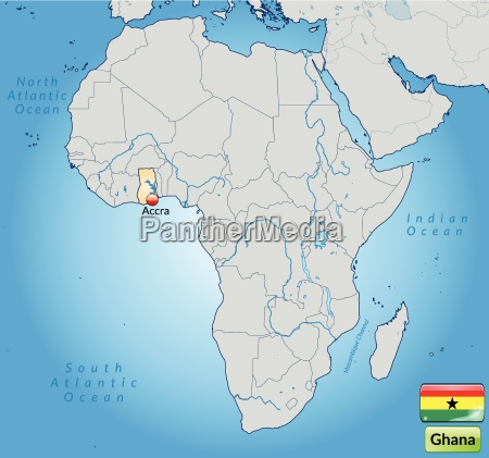 surface map of ghana with capitals
