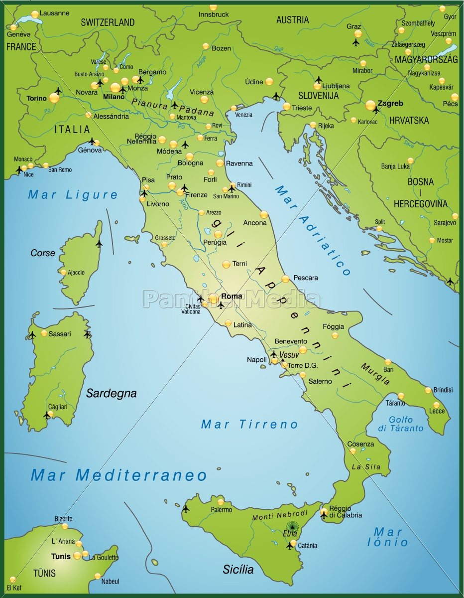 Modern Map Of Italy.Royalty Free Vector 10656091 Map Of Italy As An Overview Map In Green