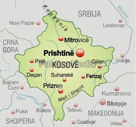 map of kosovo as an overview