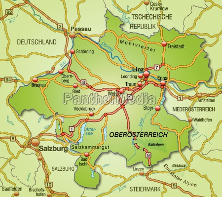 map of oberoestereich with transport network