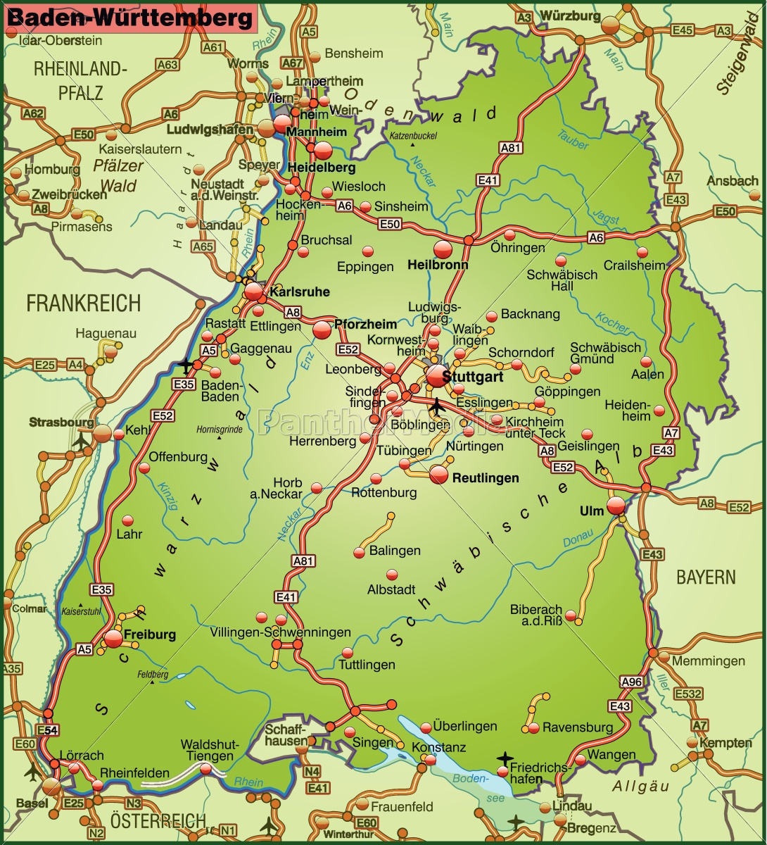 Map Of Baden Wuerttemberg With Transport Network Royalty Free